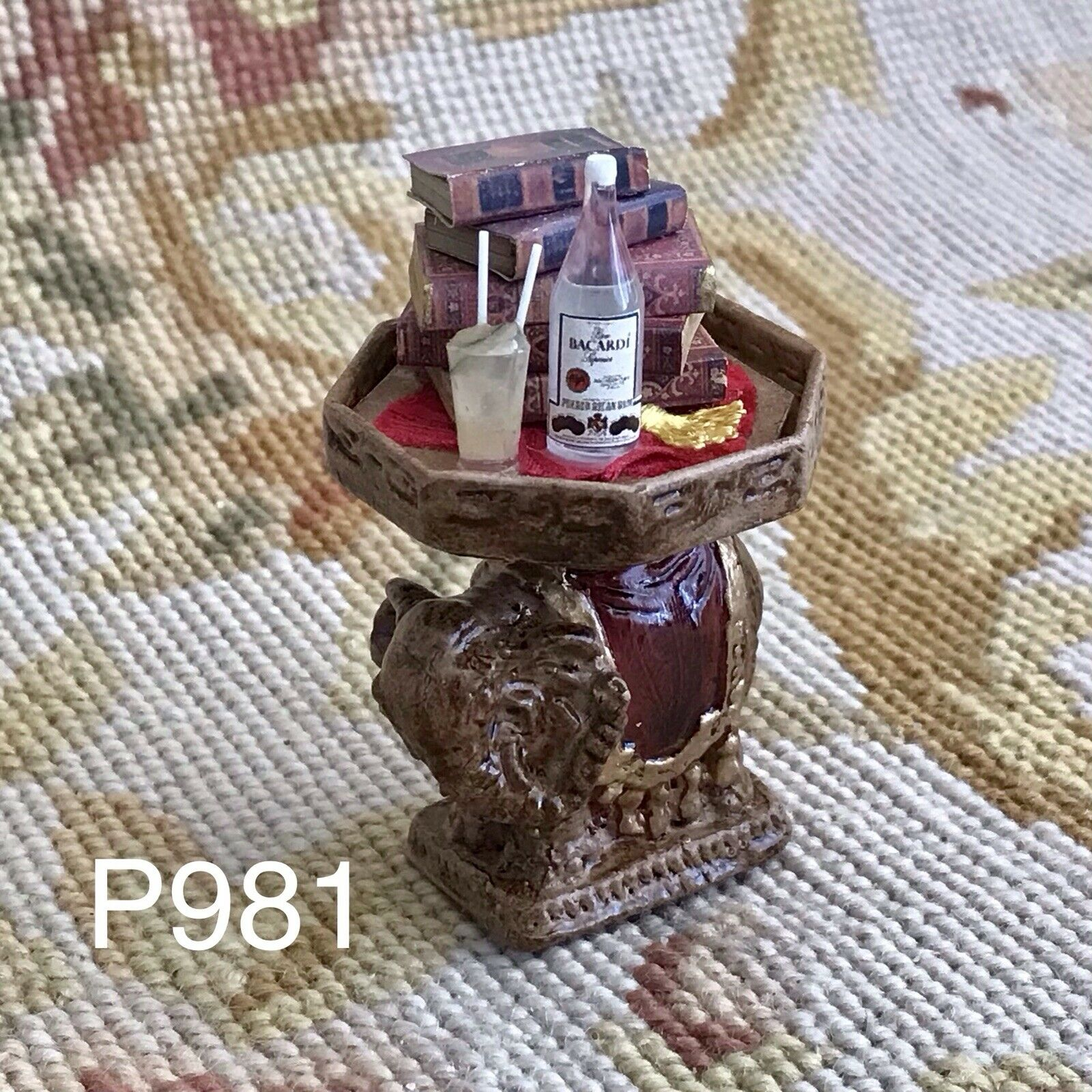 Pat Tyler Dollhouse Miniature Elephant Table Stand P981