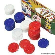 500 PLASTIC POKER CHIPS 1 1/2 INCH DIAMETER RED WHITE & BLUE RETAIL BOXED
