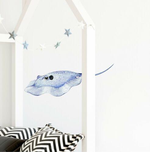 Stingray #2 Wall Decal Watercolor Wall Sticker Ocean Sea Animal Fish Vinyl