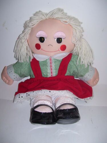 VTG 1990 EMBROIDERED FACE CANDY CLAUSE CLOTH DOLL AVON CHRISTMAS PLUSH TOY 16""
