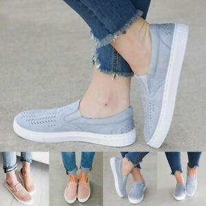 Femmes-Casual-Comfort-Canvas-Shoes-Plimsolls-Flats-Slip-On-Mocassin-Baskets-Escarpins