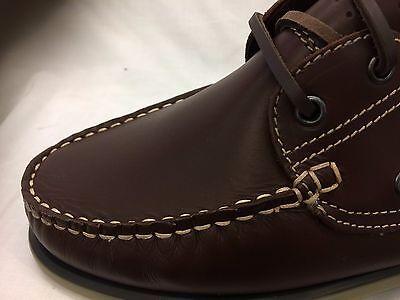 Cuero Marrón para Hombre M55 dek Nubuck con Cordones Zapatos informales de moda Barco Mocasín Reino Unido