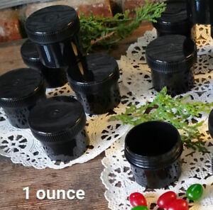 90-Black-Plastic-1-ounce-Jars-Container-Black-Cap-Screw-on-Lid-Top-4305-USA