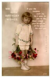 Antique-RPPC-real-photograph-postcard-card-Birthday-Wishes-portrait-girl