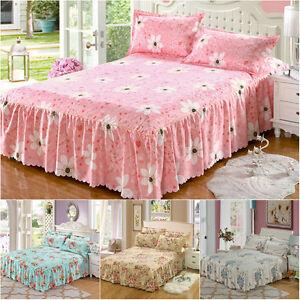 4Pcs-Pink-Floral-Bed-Skirts-Quilt-Duvet-Cover-Pillowcase-Bedding-Set-Queen-Bed