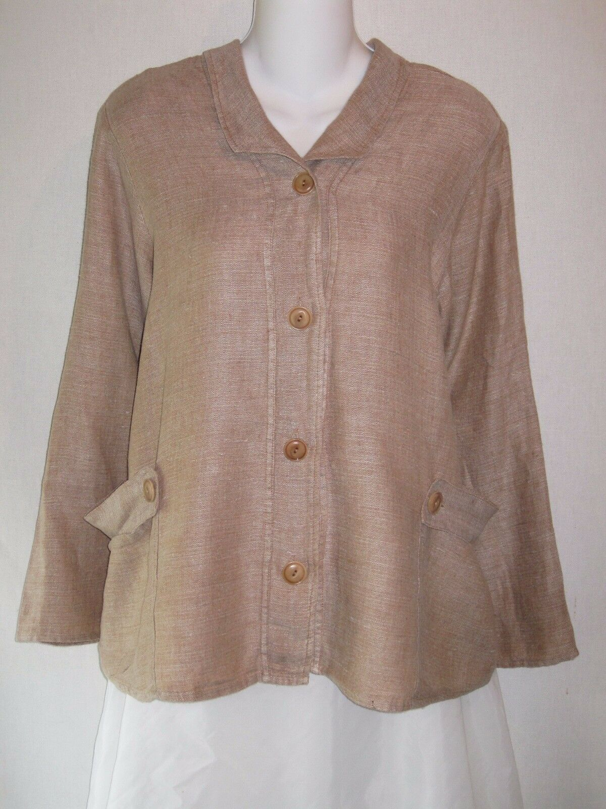FLAX by Jeanne Engelhart Long Sleeve Linen Button Front Top Shirt Petite P
