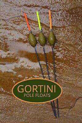 3 no Hand made GORTINI 0.60gm Heavy Margin pole fishing floats handmade set