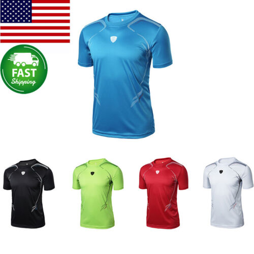 Mens Short Sleeve Quick Dry Sports T-Shirt Breathable Running Gym  Workout Tops