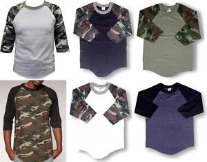 3-4-Sleeve-S-3XL-Plain-Camo-Camouflage-BaseBall-T-Shirts-Raglan-Army-Shaka-Tee