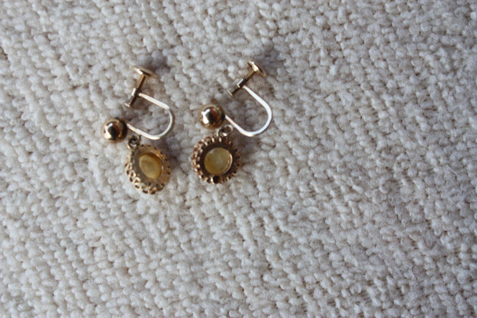 VTG 14k GOLD  Opal Clip on   EARRINGS - image 2