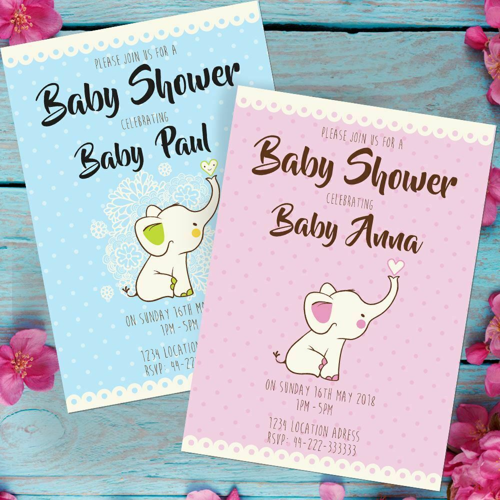 Personalised Baby Shower Invitations Elephant Design boy or girl envelopes