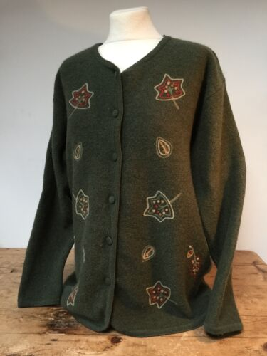 Bolied 16 M Equorian' Cardigan Olive Vintage' Green 14 Wool Embroidered z7tnq6w0q