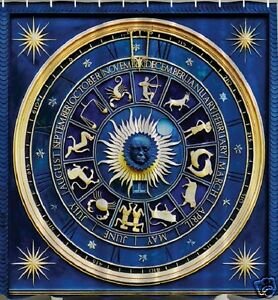 Astrology Wheel Fabric SHOWER CURTAIN Zodiac Calendar Horoscope