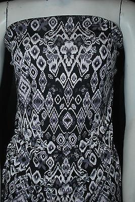 Rayon Stretch Jersey Knit Fabric  Beautiful  ikat tribal print Black Multi combo