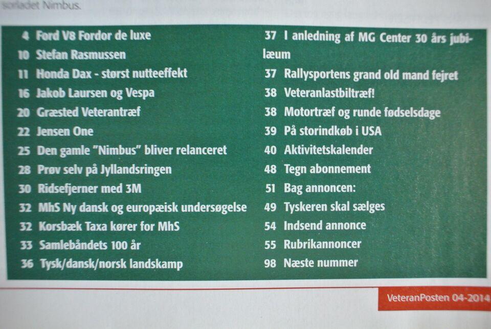 veteranposten nr. 4 2014 8. årgang, emne: bil og motor