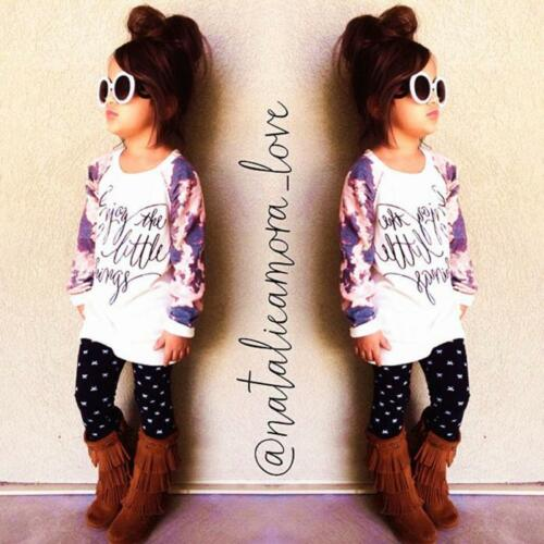 Baby Kids Girls Floral Long Sleeve Top Shirt+Pants Trousers Outfits Clothes Set