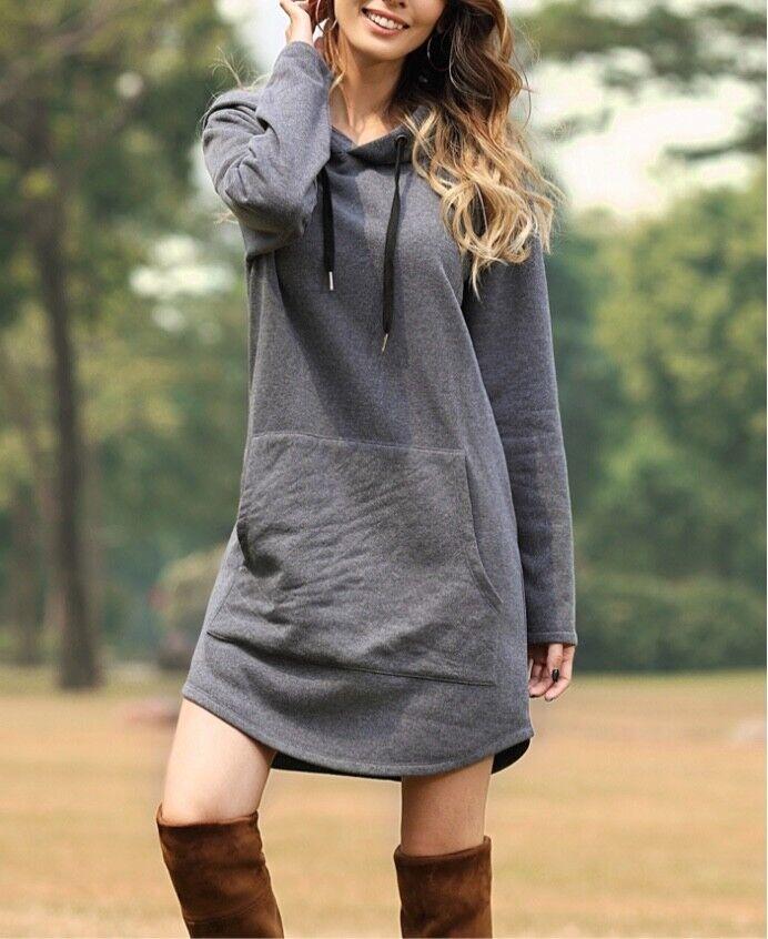 Womens hooded sweatshirt sweatshirt sweatshirt dresses. Long and short. XL, 1XL, 2XL, 3XL NEW    769378