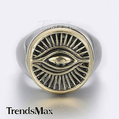 Mens Gold Tone Carve Signet Eye Pattern Silver Tone 316L Stainless Steel Ring