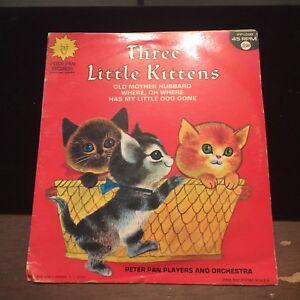 Vintage-Three-Little-Kittens-Peter-Pan-45-rpm-Vinyl-Record-PP-1005