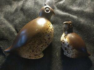 Vtg Howard Pierce Porcelain Pottery Ceramic Brown Speckled Quails Mom Chick Set