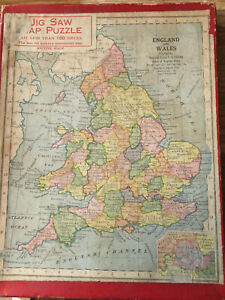 Vintage Wooden Puzzle Of England And Wales