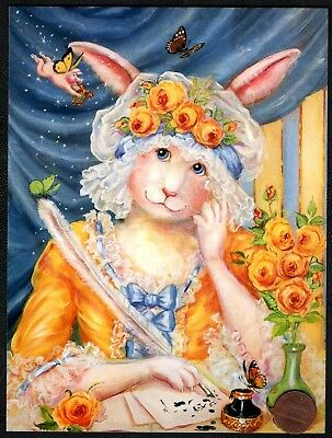 PAMELA SILIN-PALMER Bunny Rabbit Woman Roses Letter Pig Thinking of You Card NEW