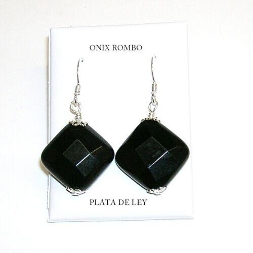 Calidad-Diseño PENDIENTES de ÓNIX ROMBO facetado 19MM y PLATA de LEY 925