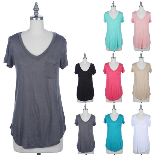 Women's Casual Flared V Neck Short Sleeve T Shirt Loose Fit Casual Top S M L