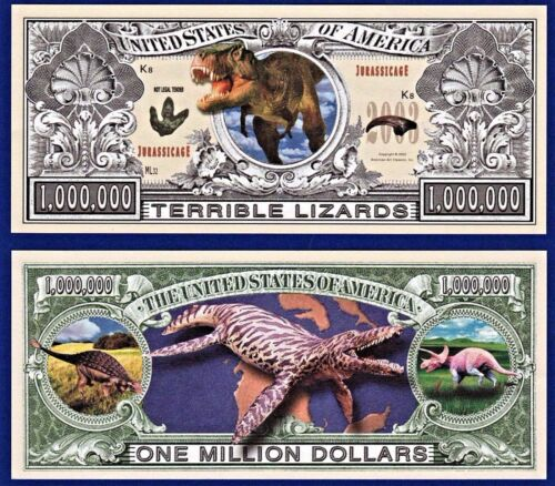 1 Lizards Dinosaur Reptile T-Rex  Dollar Bill with clear protector sleeve   P2