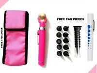 Pink LED Light Mini Fiber Optic Pocket Ent Medical Otoscope + Free Penlight