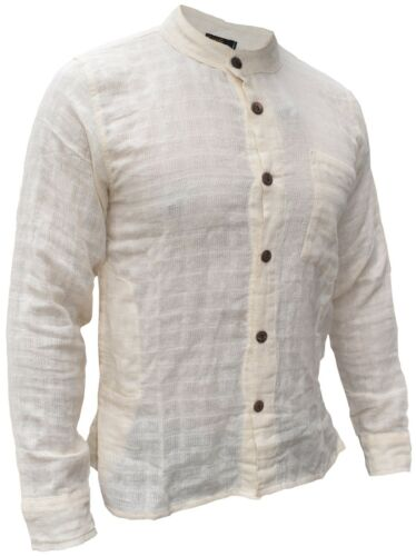 Mens Cotton Check Textured Button Down Grandad Collar Shirt Bohemian Long Sleeve