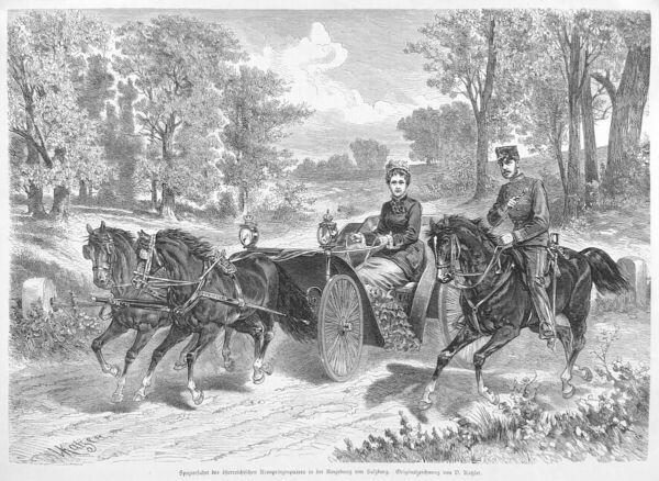 Ehrgeizig Kronprinz Rudolf, Prinzessin Stephanie, Spazierfahrt, Holzstich 1880, Sisi