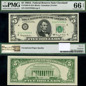 FR-1968-D-5-1963-A-Federal-Reserve-Note-Cleveland-D-A-Block-Gem-PMG-CU66-EPQ