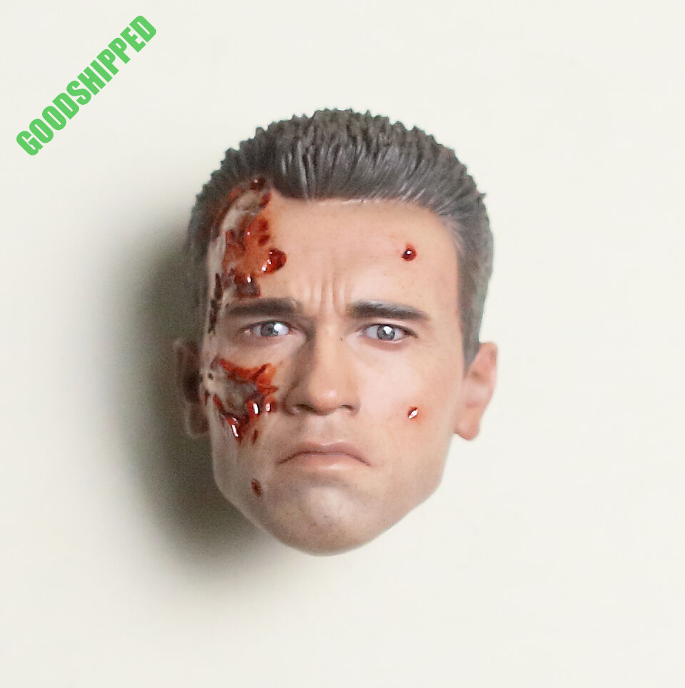 HOT TOYS DX-13 TERMINATOR 2 T2 T-2 T-800 BATTLE DAMAGED PERS HEAD 1 6 AUTHENTIC