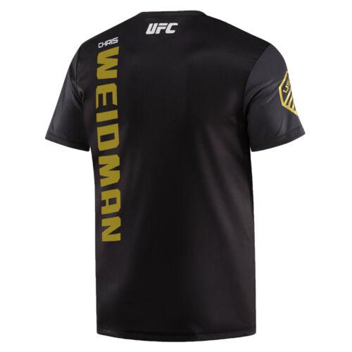 New Chris Weidman Reebok UFC Fight Kit Jersey Champion Black Gold T-shirt Sz XL