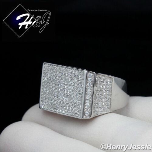 MEN 925 STERLING SILVER LAB DIAMOND BLING RECTANGLE RING*SR76