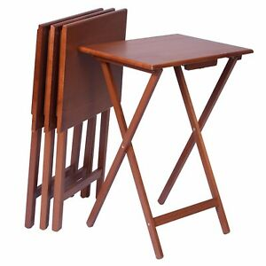 Attirant Image Is Loading Folding Table Set Of 4 Portable Solid Wood