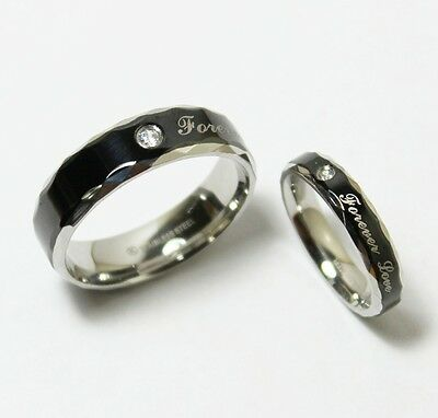 Stainless Steel Black Silver Wedding Band Matching Ring Sets**Forever Love**