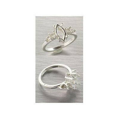 (10x5mm - 16x8mm) Sterling Marquis Double Accent Ring Setting (Ring Size 7 )