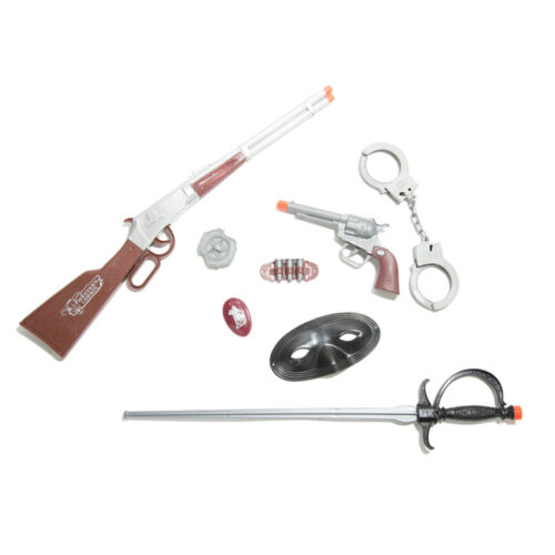 Super Cowboy Wild West Toy Gun Play Set Rifle Revolver Sword Mask Badge Handcuff