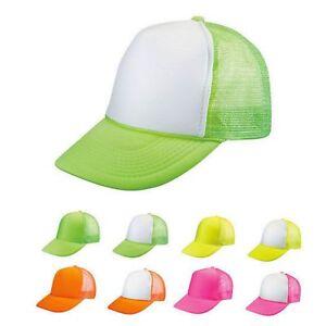 1 Dozen Blank Neon Foam Mesh Trucker Hats Caps Solid Two Tone ... a8bbea51c2a