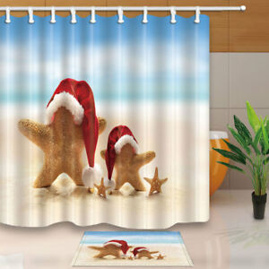 Beach and Starfish Nautical Bathroom Fabric Shower Curtain Set 71Inches Long