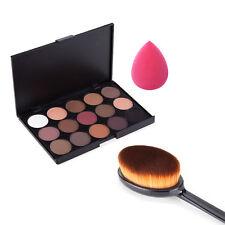 15Color Cosmetic Matte Eyeshadow Eye Shadow Makeup Palette Foundatioin Brush Set