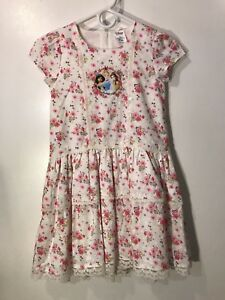 Disney-Store-Princess-Flower-Print-Dress-Cinderella-Jasmine-Bell-Girls-Size-7-8