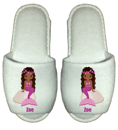 Mermaid Spa Slippers personalised party childrens little sea african american