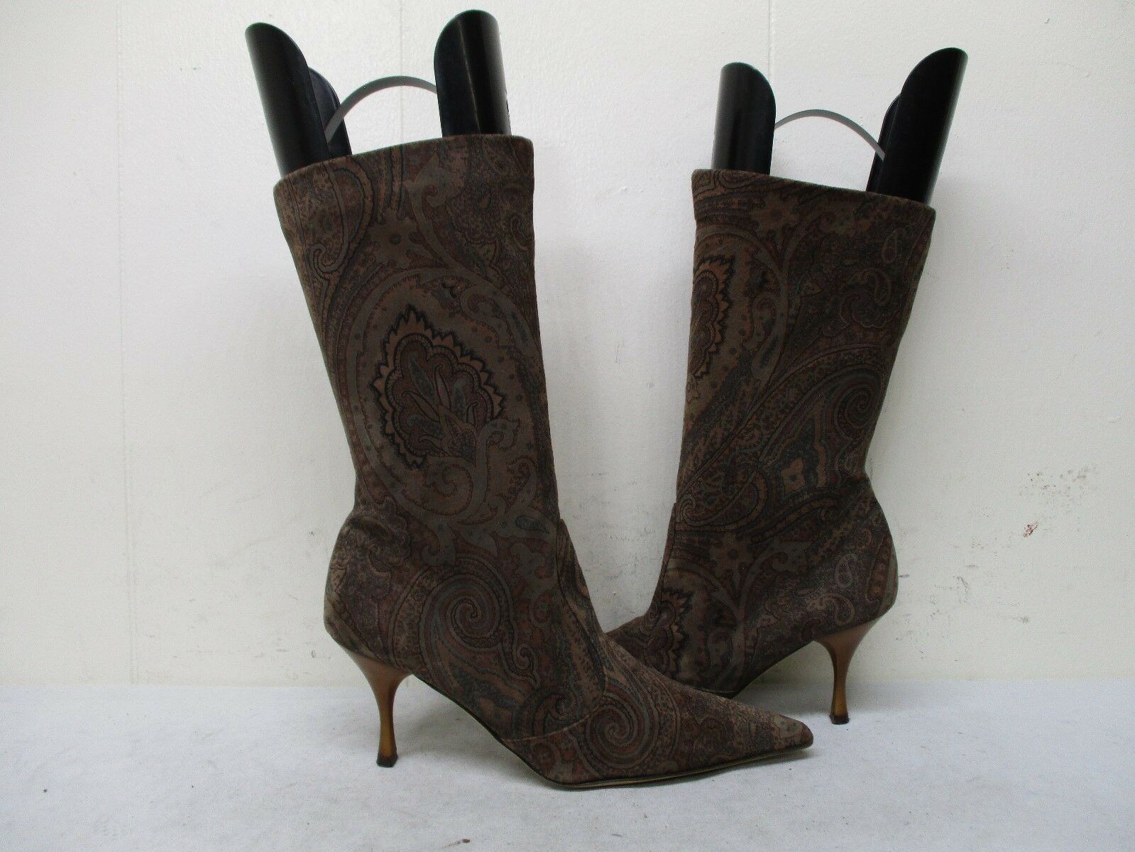 Claudia Ciuti  Suede Leather Mid Calf Fashion Boots Womens Size 5.5 M
