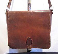 Vintage Patina Brown Leather Hippie/Boho Messenger/Crossbody/Shoulder Handbag