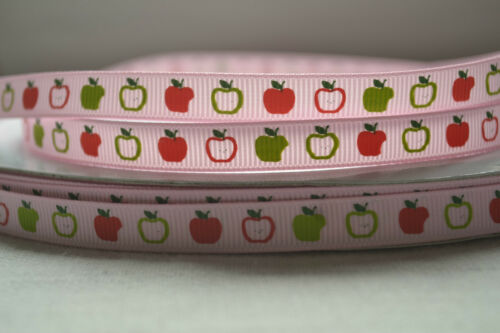 "BABY PINK with RED GREEN APPLES grosgrain ribbon 3mtrs for crafts 3//8/"" 10mm"