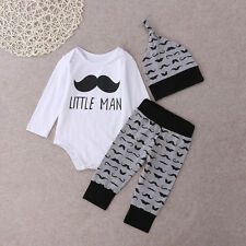 Newborn Infant Baby Boys Girls Tops Rompers+Long Pants Outfits Cotton Clothes US