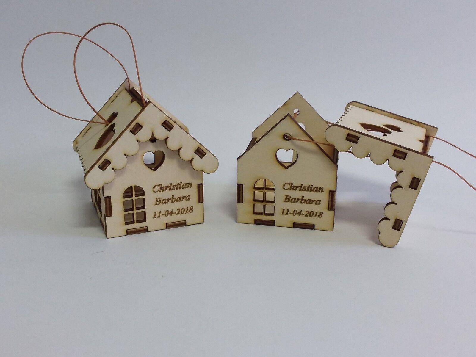 Bomboniera Bomboniera Bomboniera casetta portaconfetti 6x6x6,5cm personalizzata con nomi e data legno cee146
